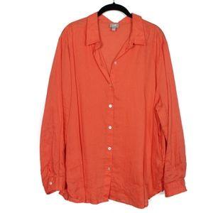 J. Jill XL Linen Orange Long Sleeve Shirt Blouse